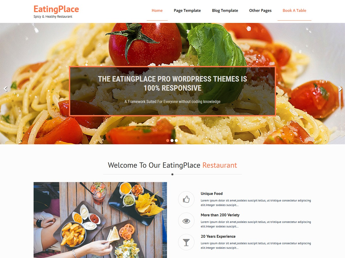 EatingPlace WordPress pizza theme