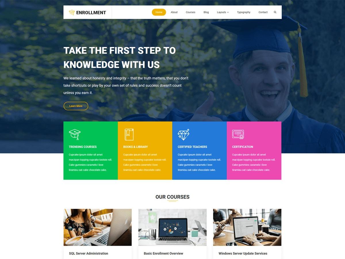 Enrollment best WordPress template
