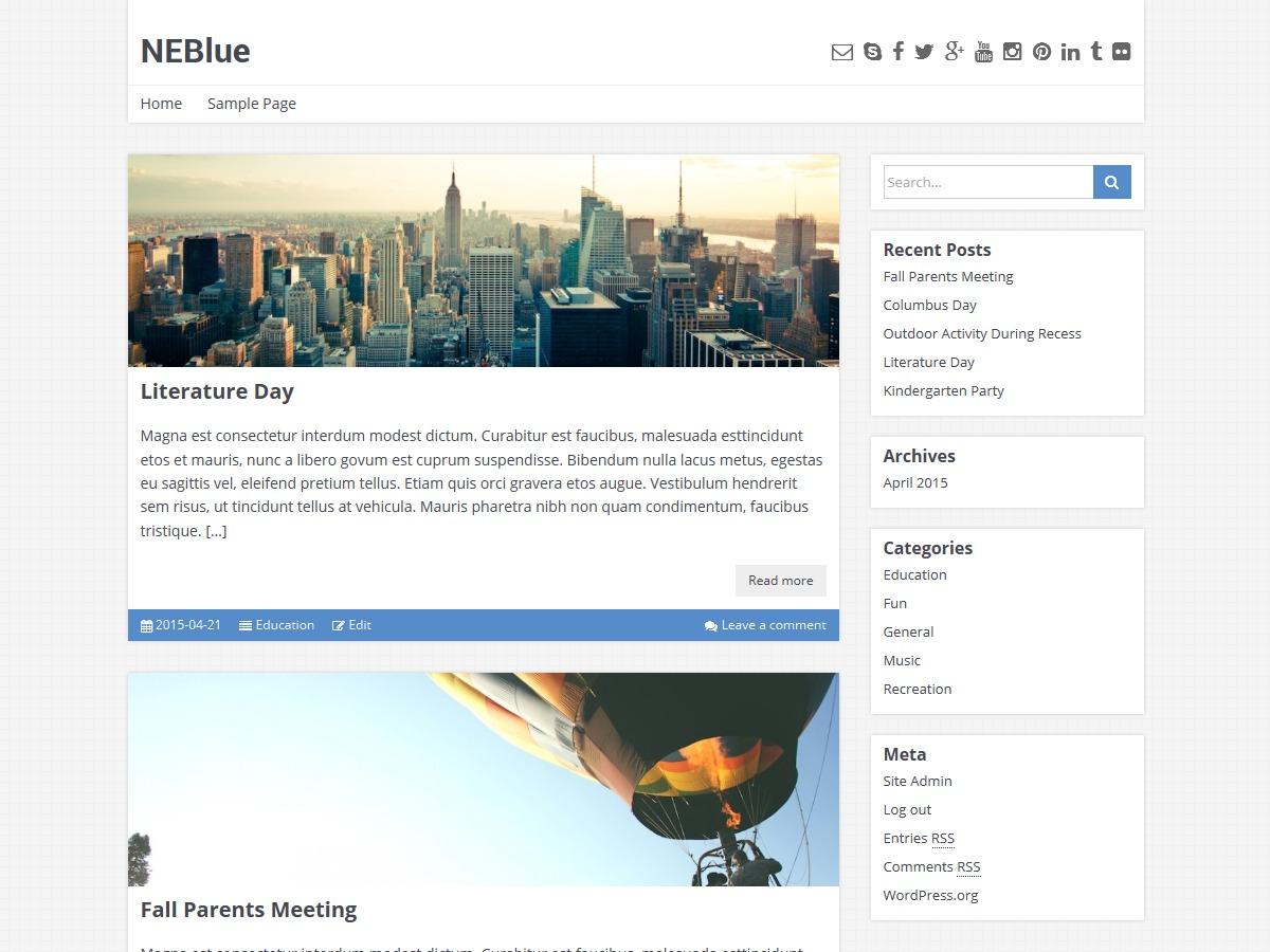 NEBlue New WordPress blog theme