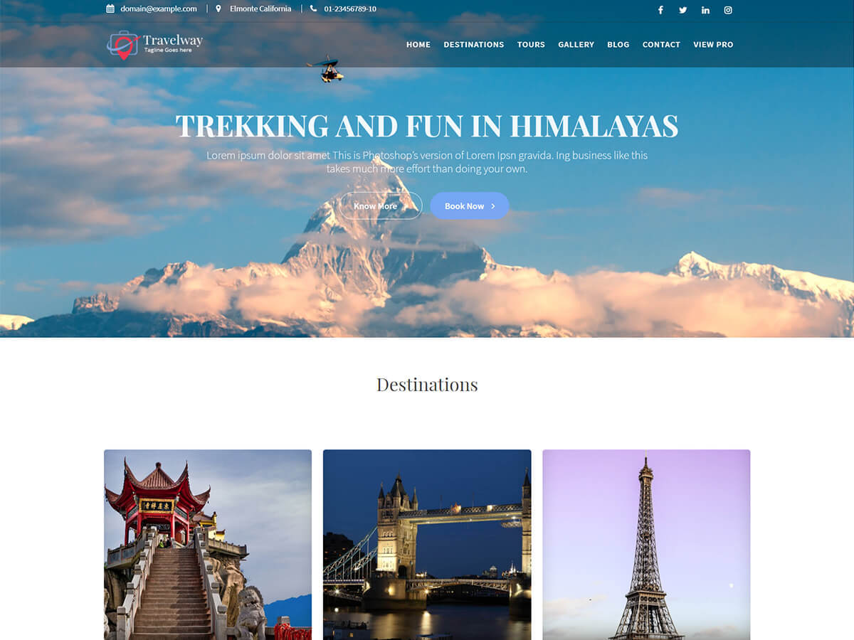 Travel Way WordPress portfolio template