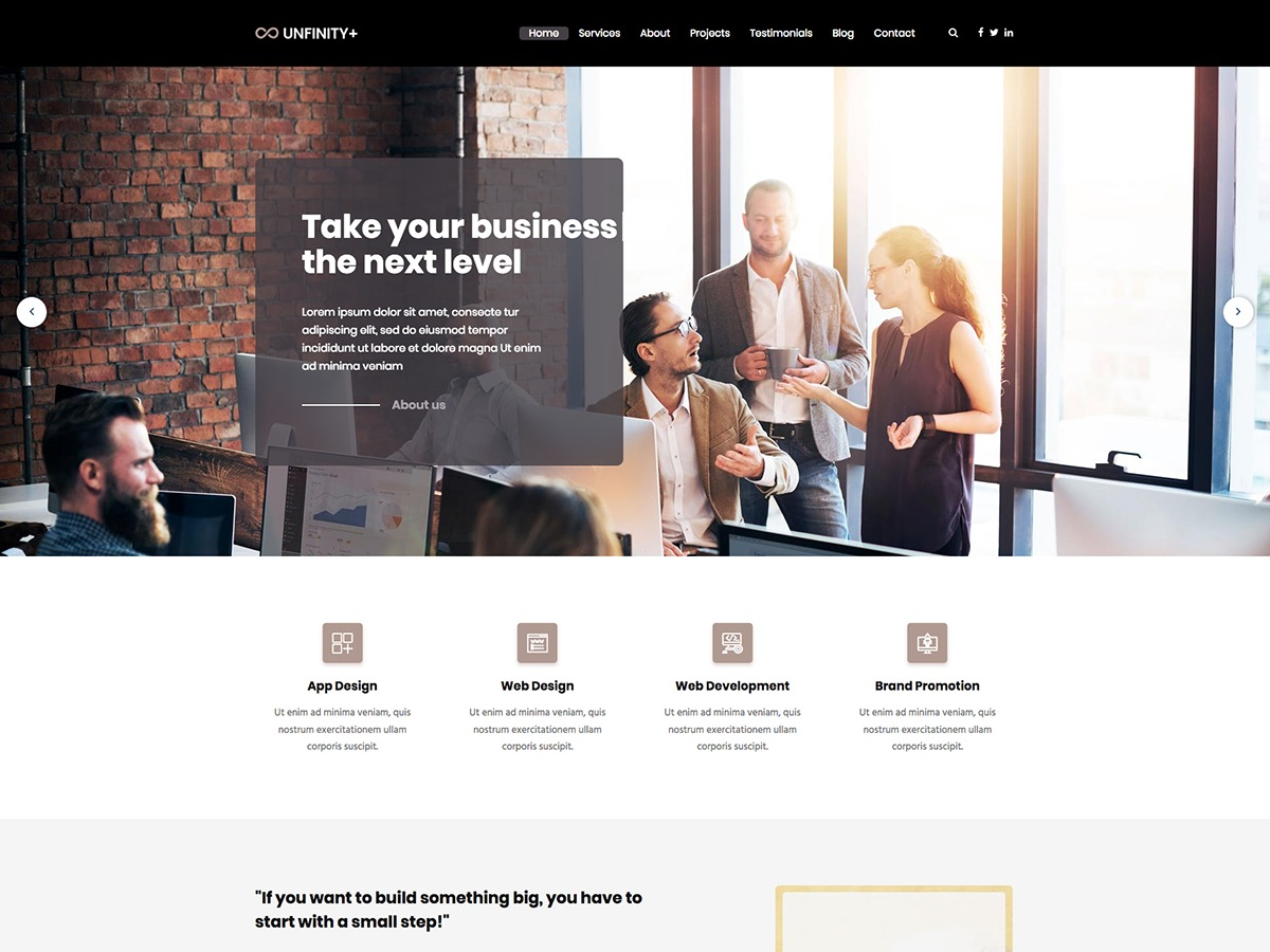 UnfinityPlus WordPress landing page