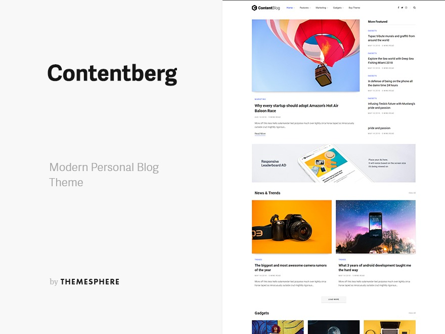 Contentberg WordPress blog template