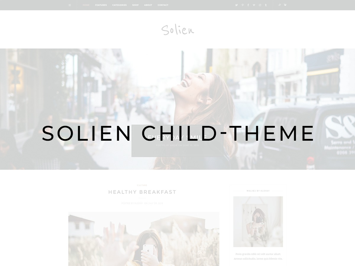 Solien child-theme WordPress website template