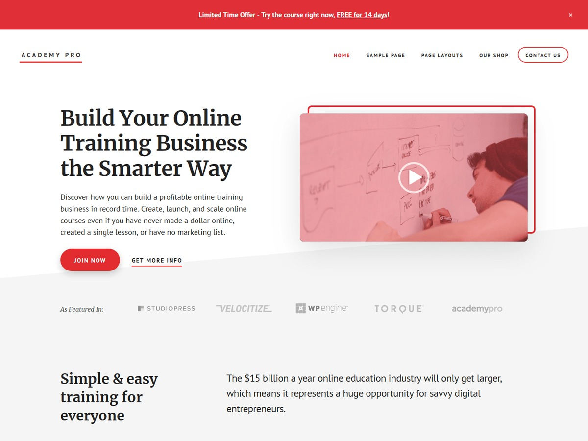 Academy Pro WordPress page template