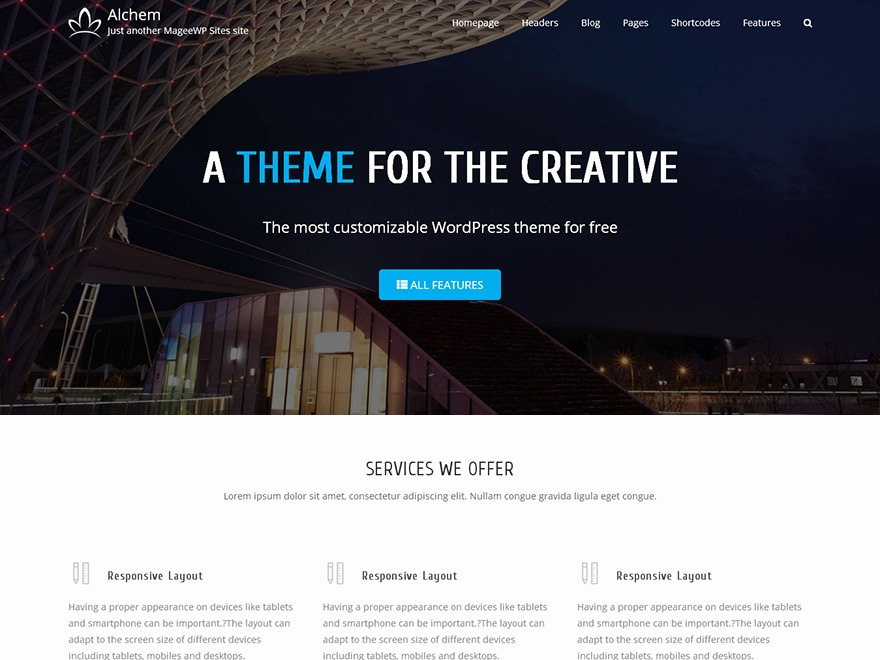 Alchem Pro company WordPress theme