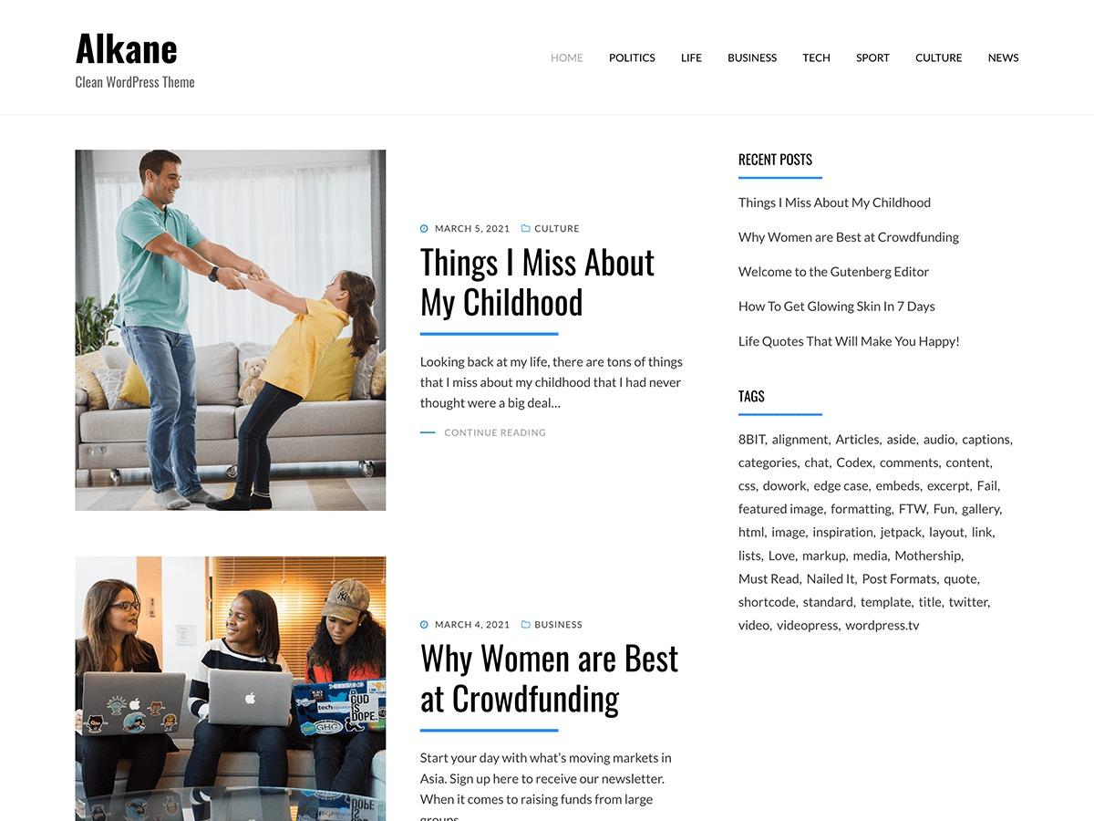 Alkane best free WordPress theme