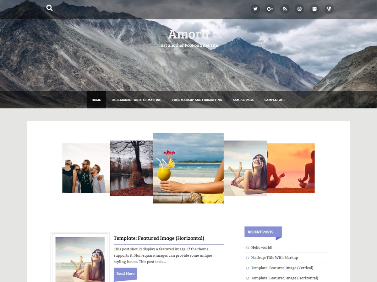 Amora template WordPress free