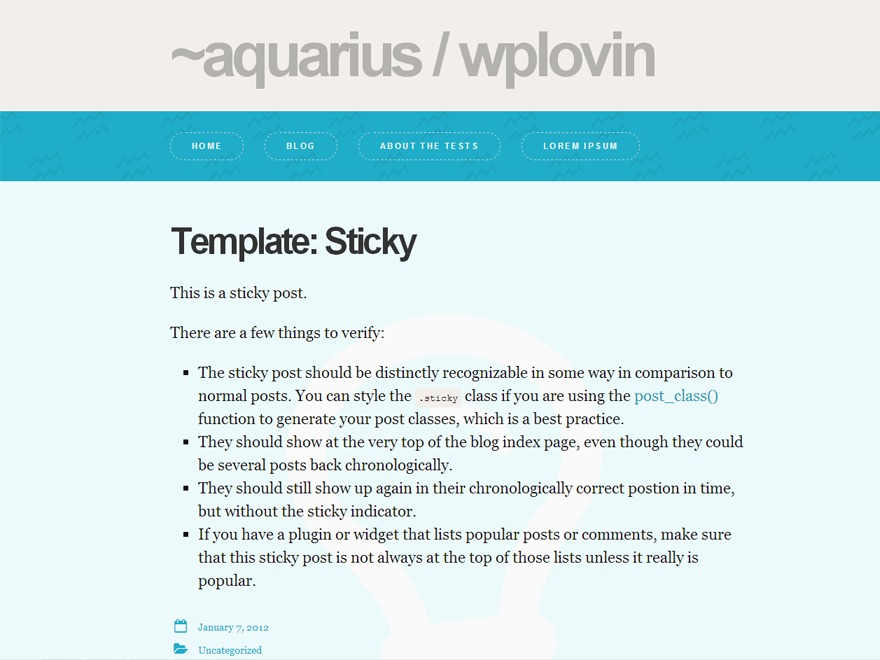 Aquarius WordPress blog theme