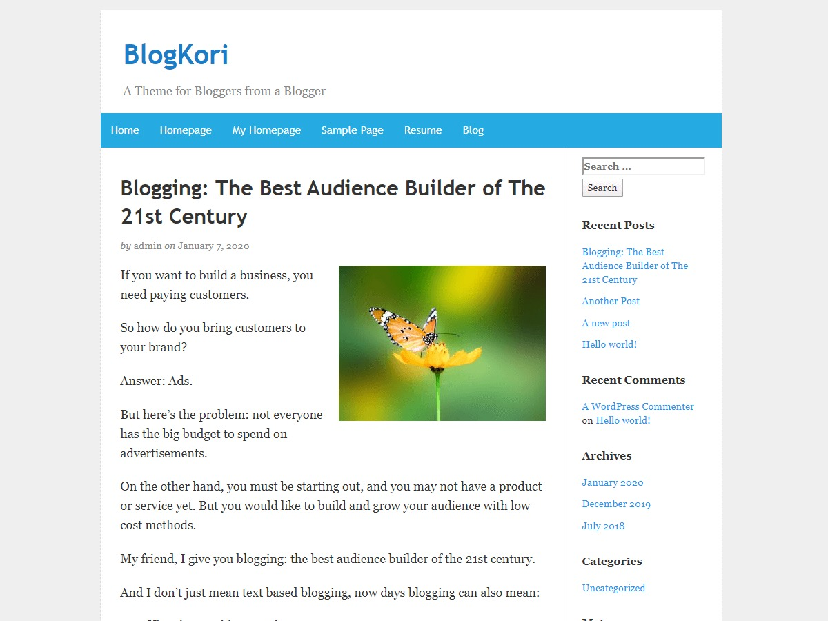 BlogKori free website theme