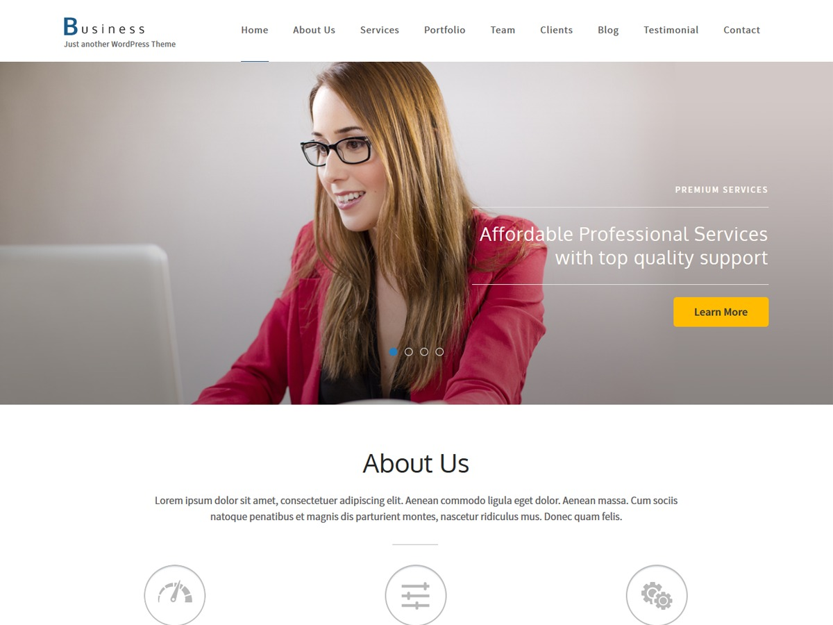 Business One Page WordPress portfolio template
