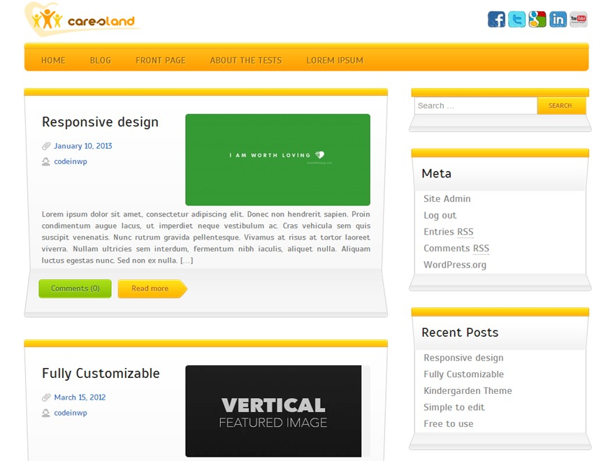 Caresland Lite template WordPress free