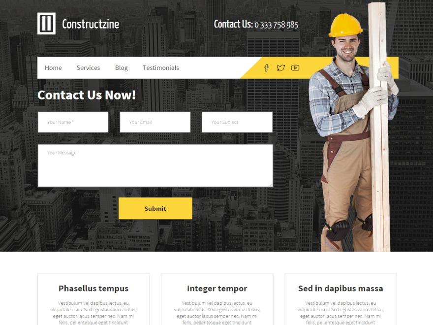Constructzine Theme WordPress page template