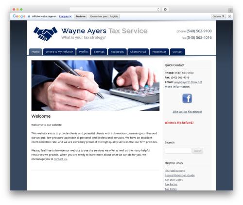 Customized business WordPress theme - wayneayerstaxservice.com