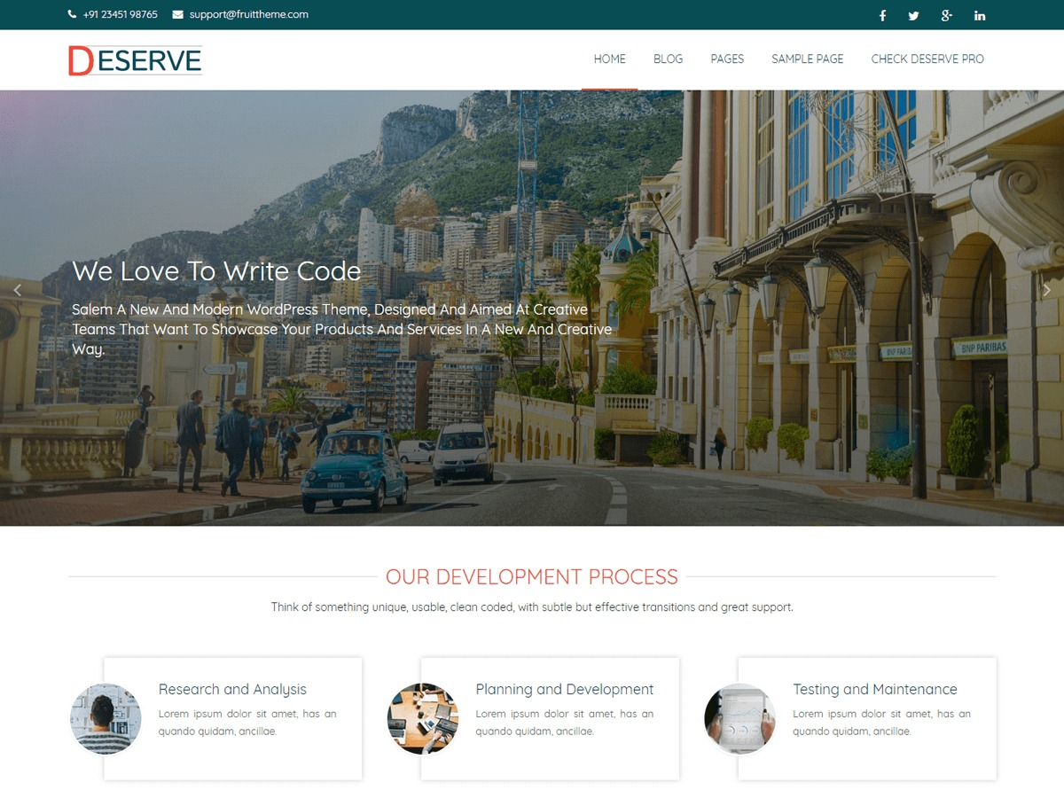 Deserve template WordPress free