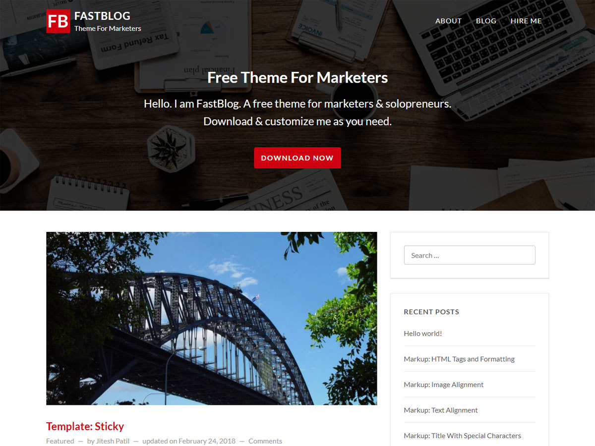 FastBlog theme WordPress free