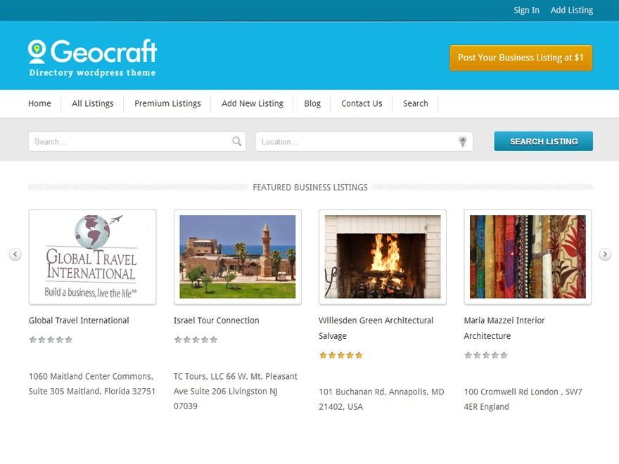 Geocraft WordPress template for business
