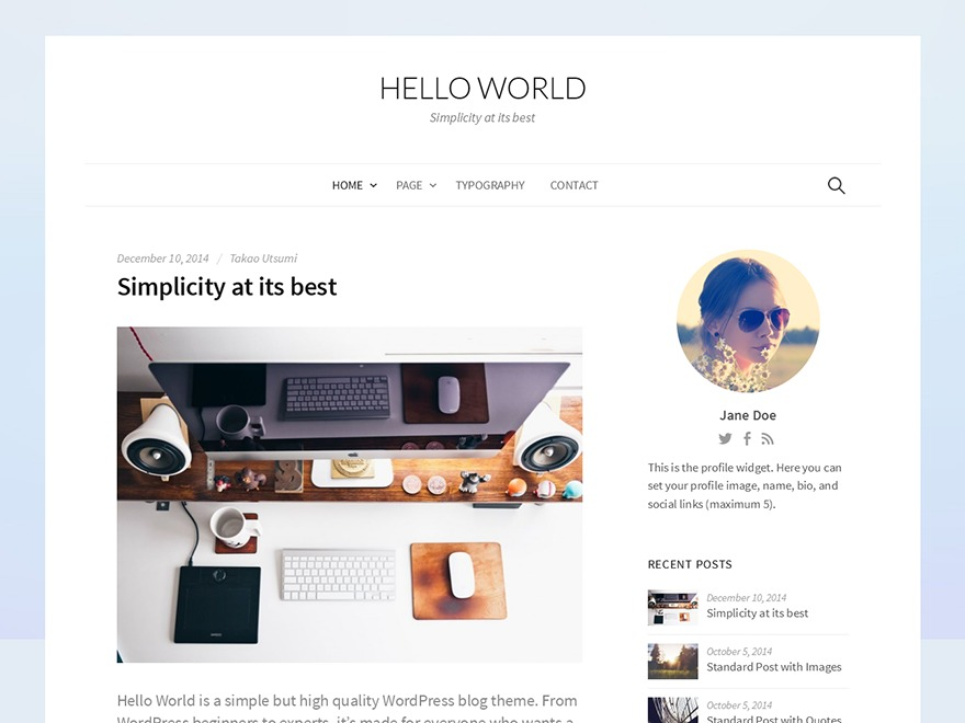 Hello World WordPress blog template