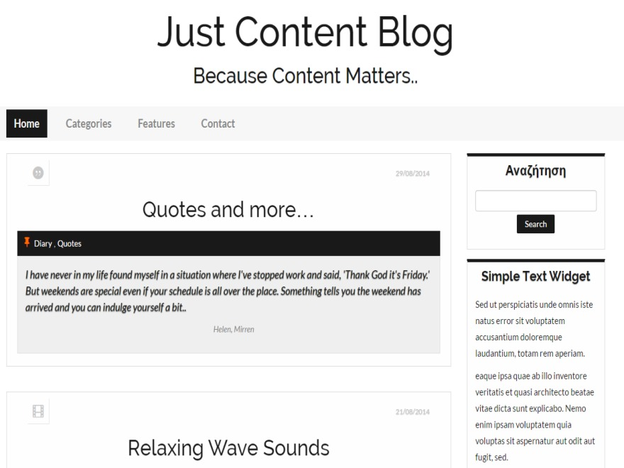 Just Content WordPress blog theme