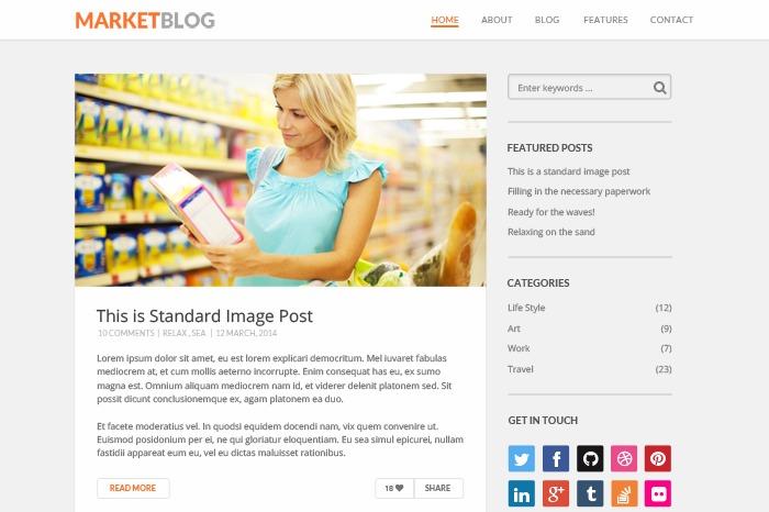 Market Blog WordPress blog theme