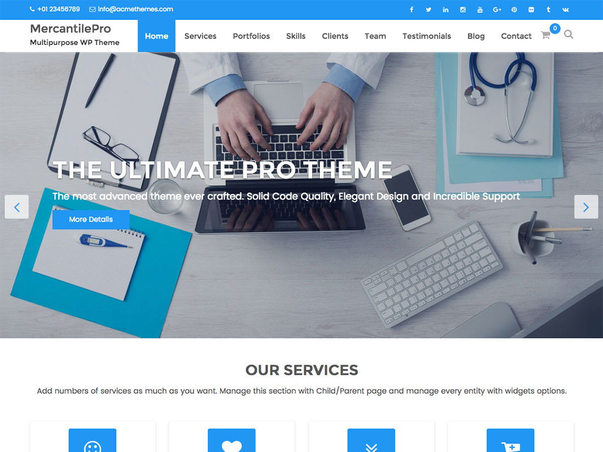 MercantilePro company WordPress theme
