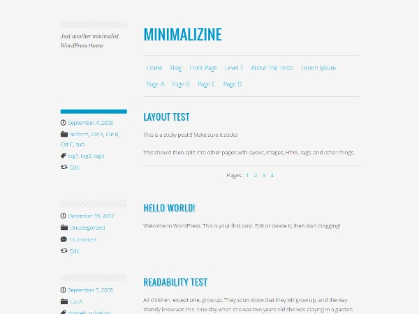 Minimalizine WordPress blog template