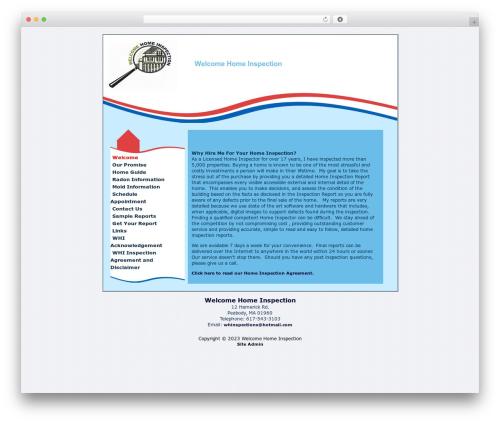Free WordPress Contact Form plugin - welcomehomeinspect.com