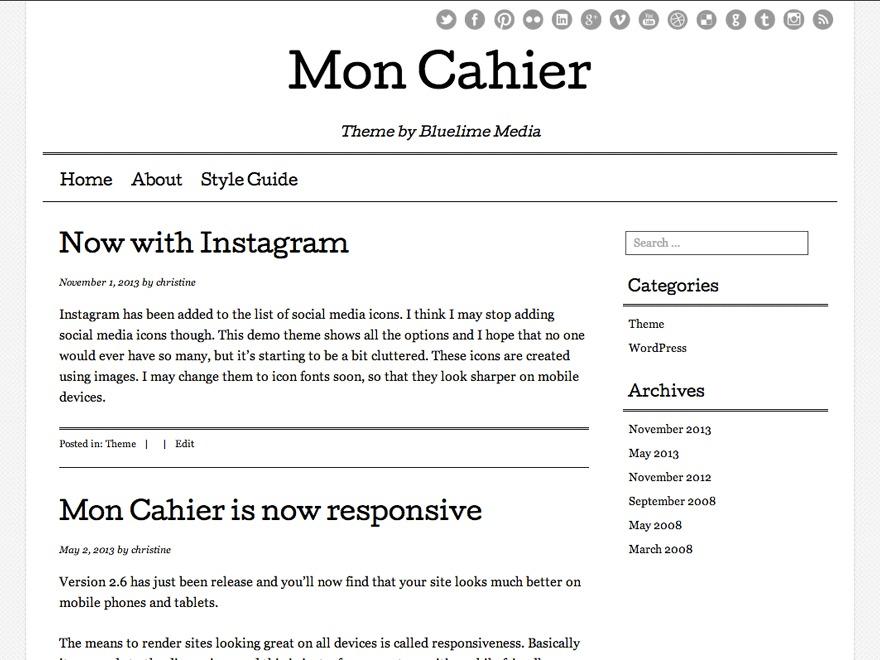 Mon Cahier WordPress theme