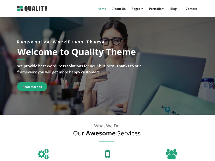 Quality green free WP theme