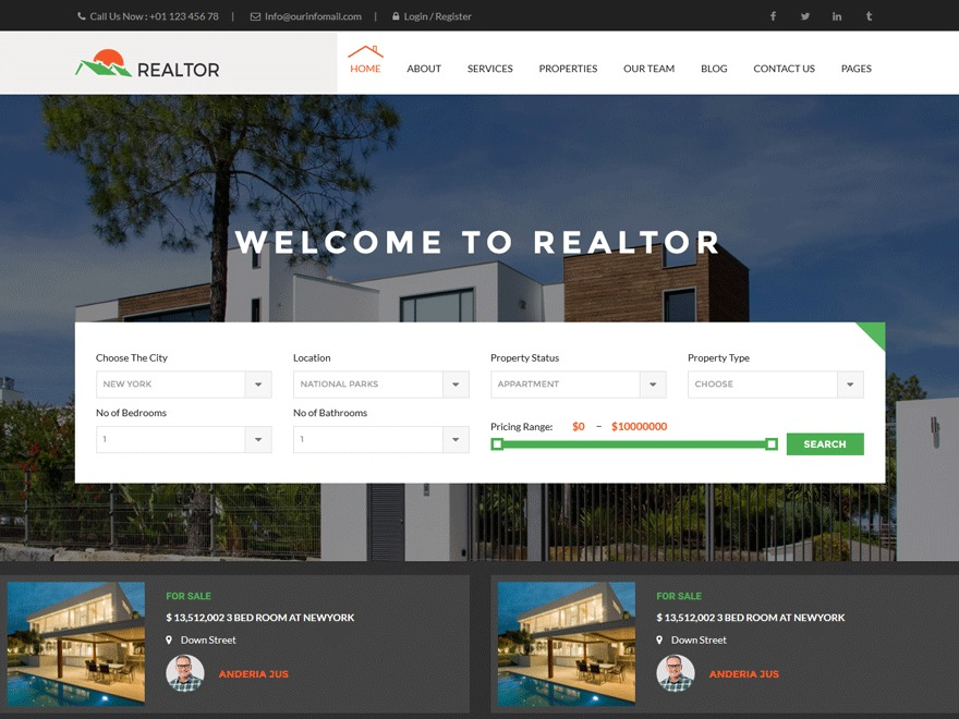 Realtor real estate WordPress theme