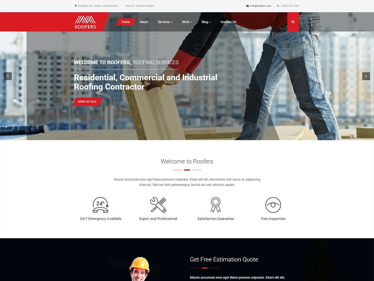 Roofers company WordPress theme