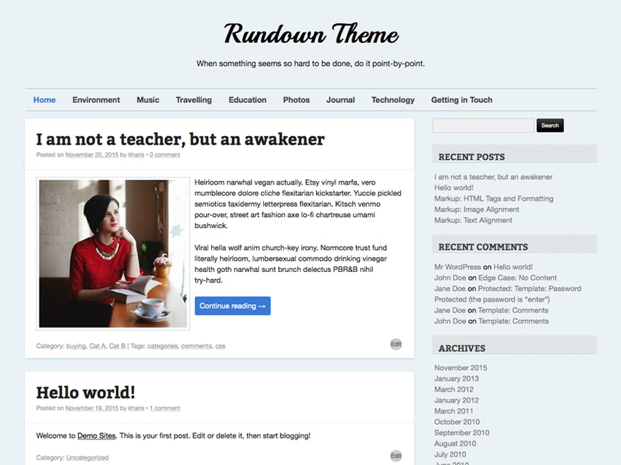 Rundown WordPress blog template