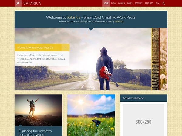 Safarica WordPress blog template