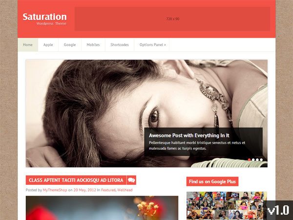 Saturation WordPress blog template