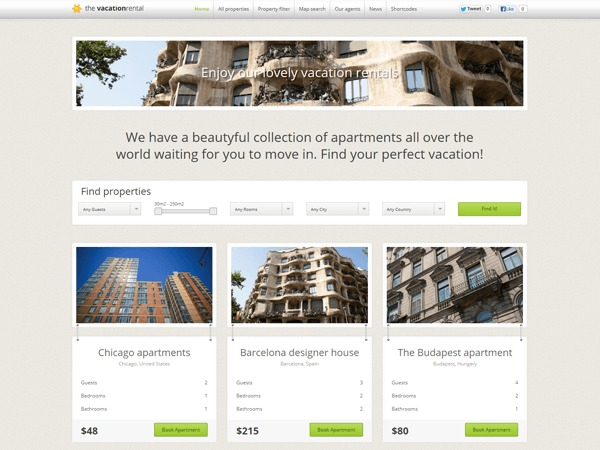 The Vacation Rental theme WordPress
