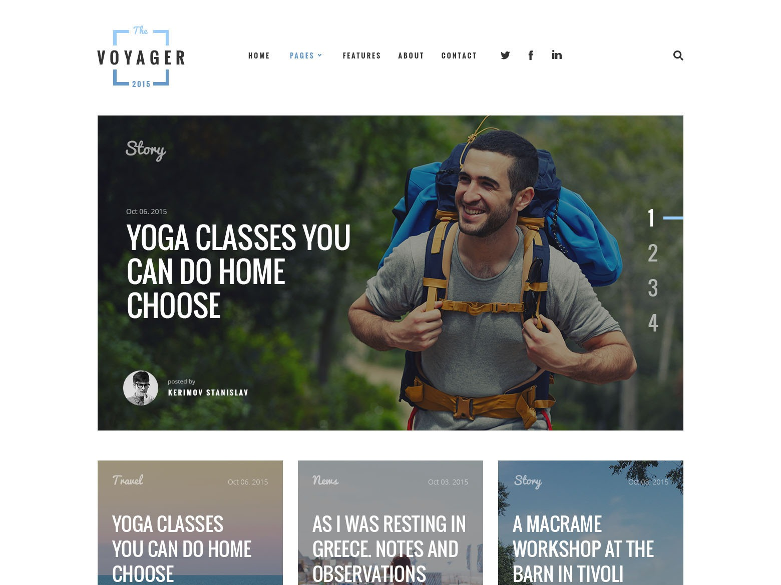 Voyager Child WordPress blog template