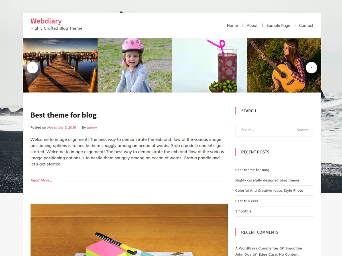WebDiary WordPress blog template