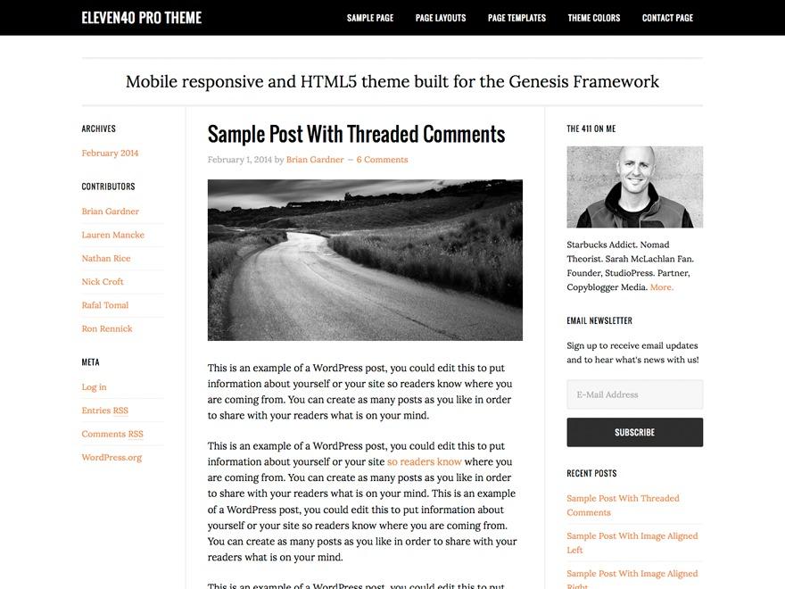WordPress website template eleven40 Pro