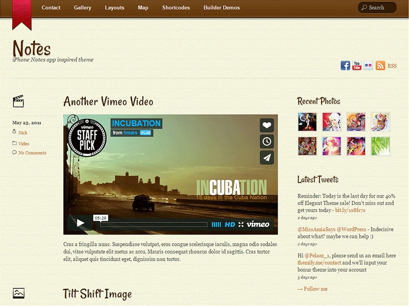 WordPress website template Notes