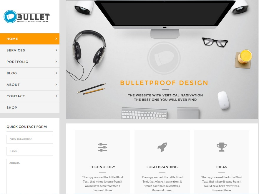 WP Bullet WordPress page template
