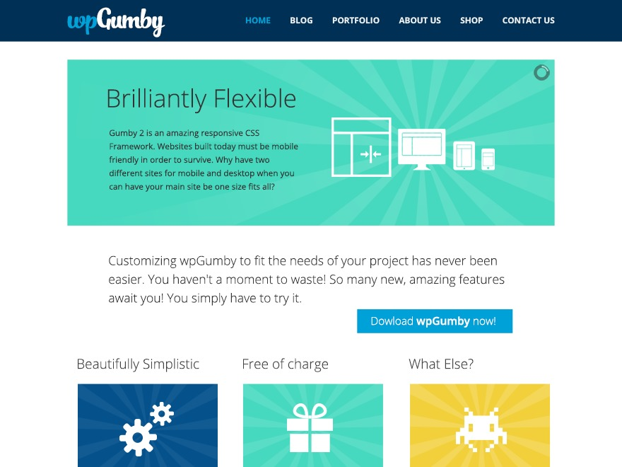 wpGumby WordPress template free download