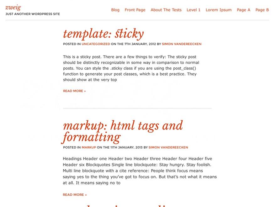 Zweig WordPress theme
