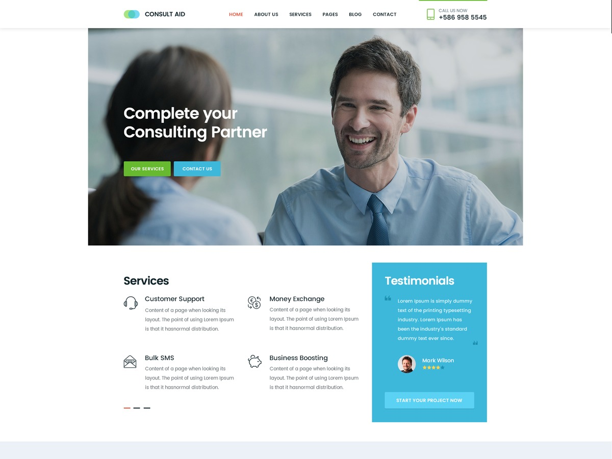 ConsultAid WordPress template for business