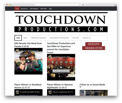 Coverage best WordPress video theme - touchdownproductions.com