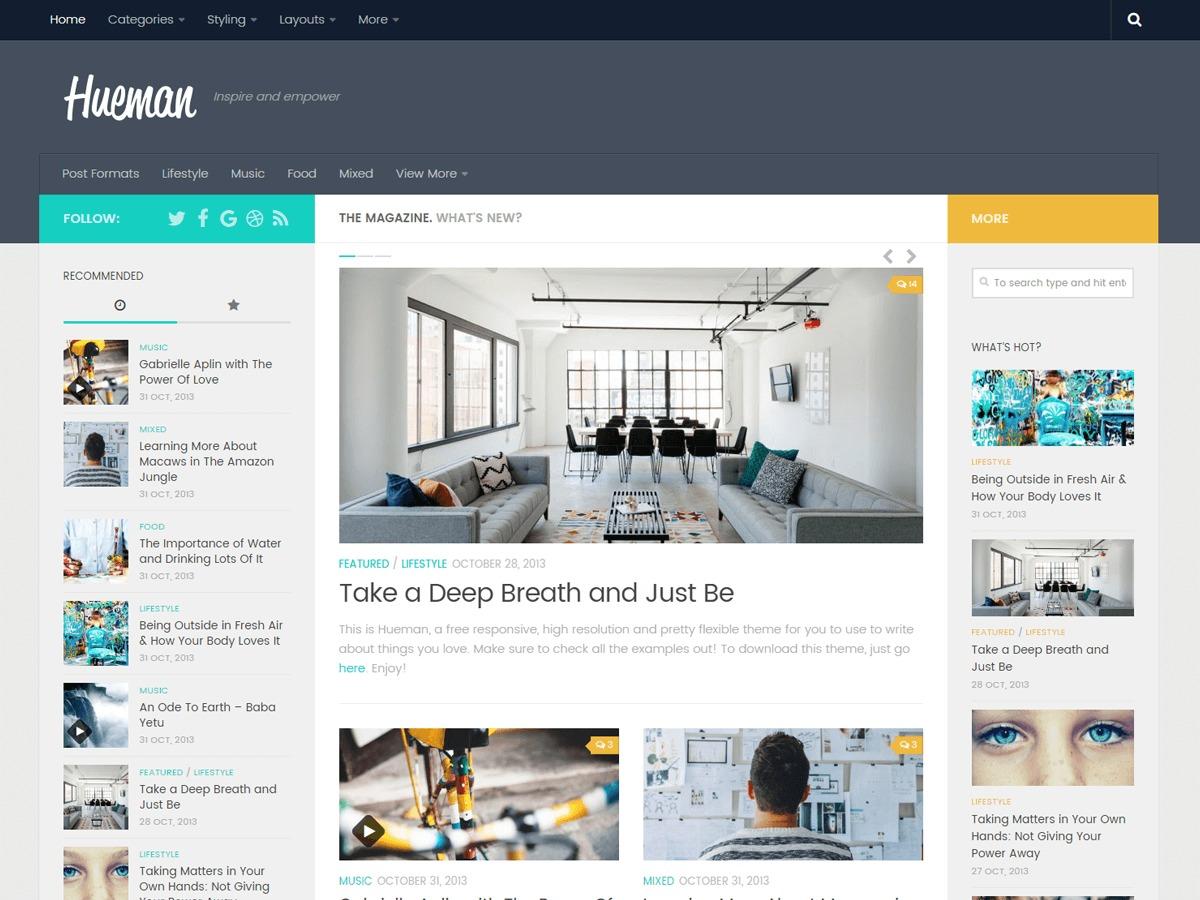 Hueman wallpapers WordPress theme