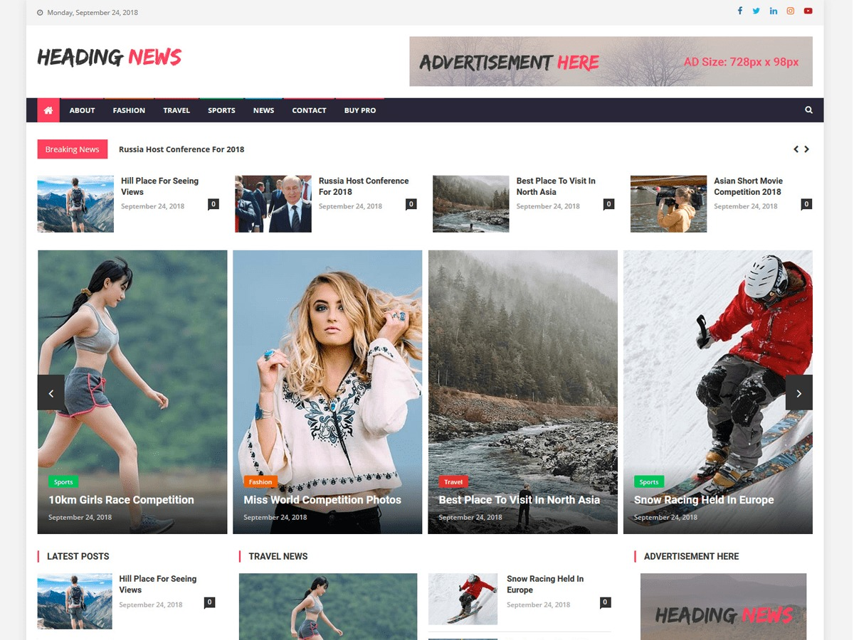 Heading News WordPress news template