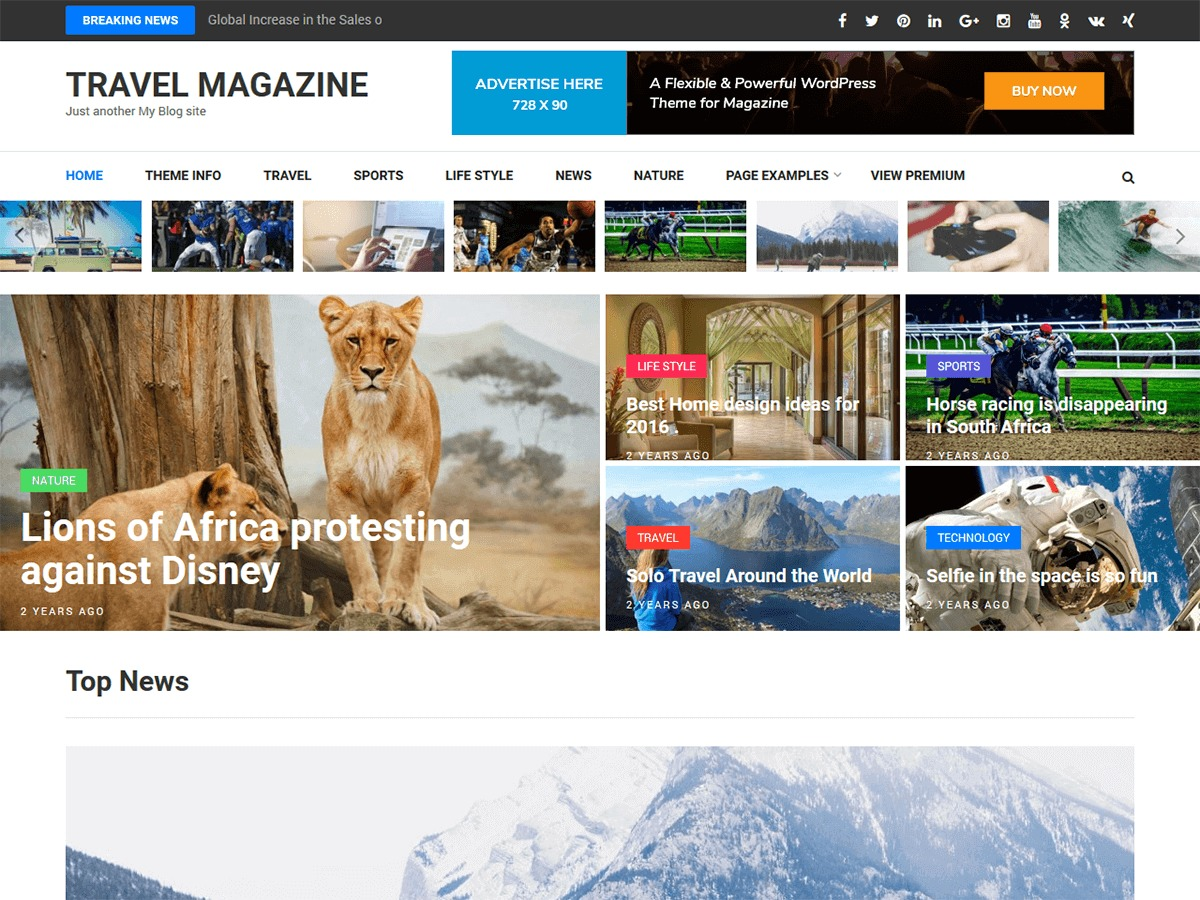 Travel Magazine WordPress news template