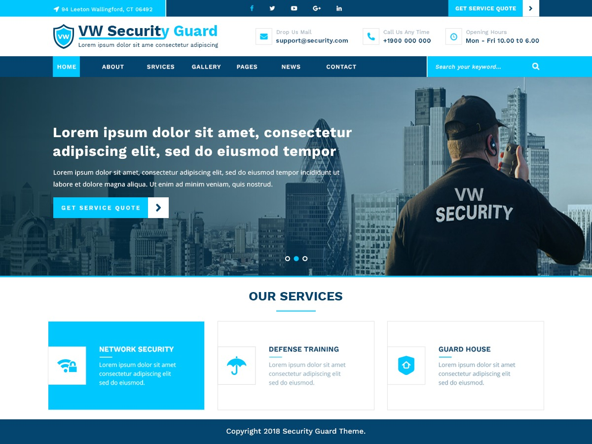 VW Security Guard company WordPress theme