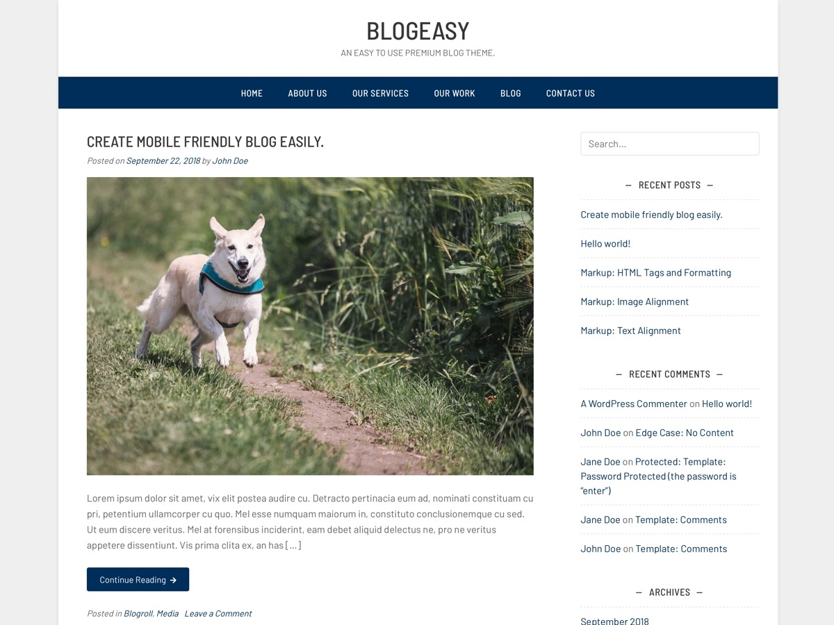 Blogeasy WordPress blog template