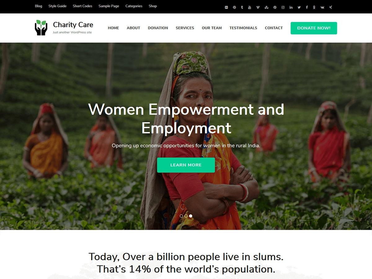 Charity Care business WordPress theme