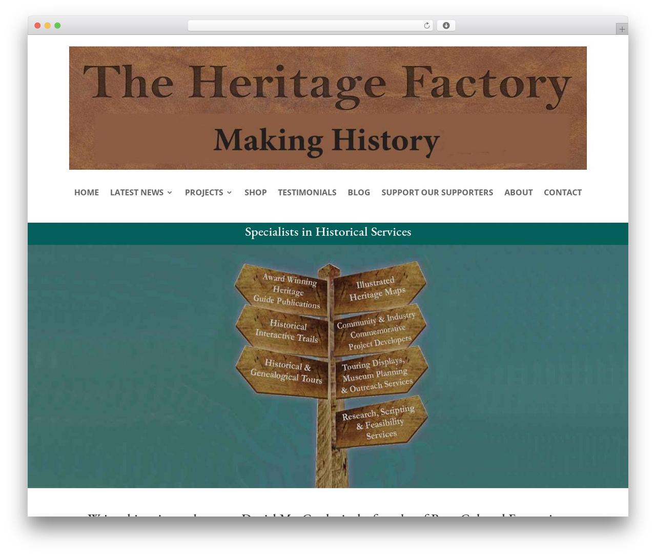 Divi WordPress theme - heritagefactory.com